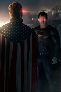 320x568 Captain America And Superman Vs US Agent And Homelander
