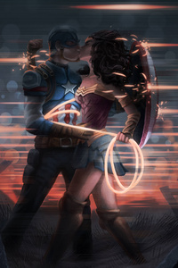 Captain America And Wonder Woman Kissing