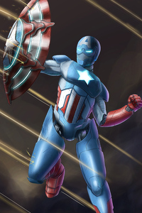 320x568 Captain America As Iron Man Suit