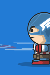 1080x2160 Captain America Cartoon Minimal Art 4k