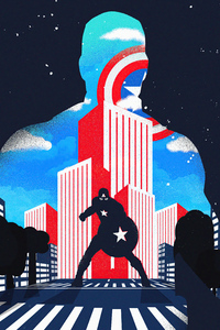 1440x2960 Captain America City Noise Minimal 4k