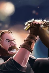 Captain America Defending Thanos Avengers Infinity War Artwork