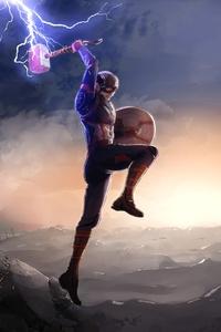 640x1136 Captain America Fighting Thanos