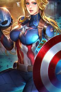 480x800 Captain America Girl 4k 2021