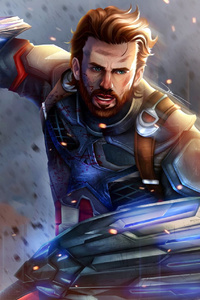 1440x2960 Captain America In Avengers Infinity War Artwork