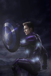 Captain America In Iron Suit With Shield