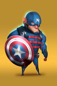 1280x2120 Captain America Minimal Cartoon Art 4k