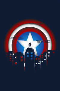1125x2436 Captain America Minimal Illustration 5k