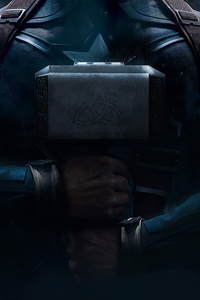 2160x3840 Captain America Mjolnir 4k 2020