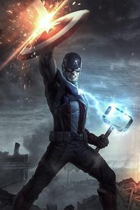 1080x2280 Captain America Mjolnir 4k