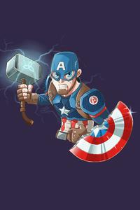 Captain America Mjolnir Art 4k