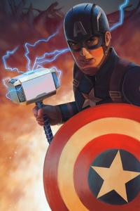 640x1136 Captain America Mjolnir Art