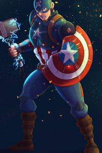 640x960 Captain America Mjolnir Artwork 4k 2020