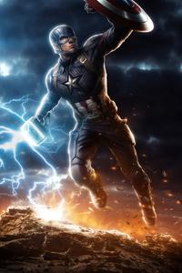 2160x3840 Captain America Mjolnir Avengers Endgame 4k Art