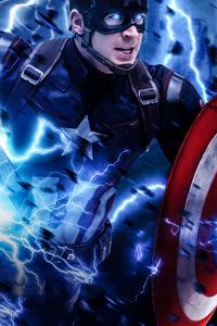 640x1136 Captain America Mjolnir Avengers Endgame Art