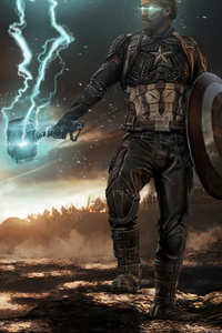 1125x2436 Captain America Mjolnir Thunder And Shield 2020 4k