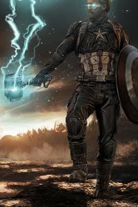 640x1136 Captain America Mjolnir Thunder And Shield 2020 4k
