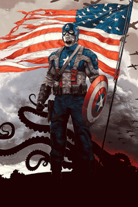 640x960 Captain America Movie Poster Art 4k
