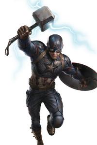 1242x2688 Captain America Thor Hammer Art