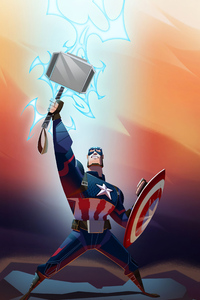 1440x2560 Captain America Thor Hammer Up