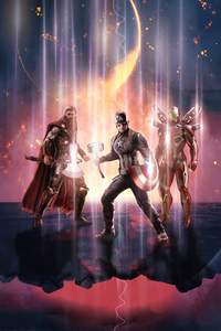 750x1334 Captain America Thor Iron Man Avengers End Game 4k