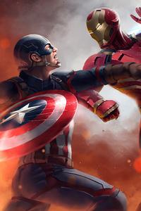 720x1280 Captain America Vs Iron Man Civil War Art 4k