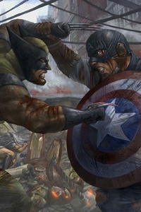 640x960 Captain America Vs Wolverine