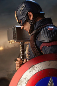 1440x2560 Captain America With Hammer And Shield