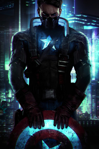 1125x2436 Captain America X Cyberpunk