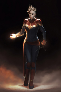 Captain Marvel 4k Sketch Art