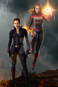 360x640 Captain Marvel And Black Widow