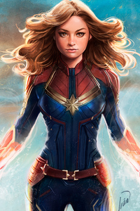 480x800 Captain Marvel Art 4k