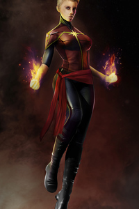 240x320 Captain Marvel Artwork 2020 4k