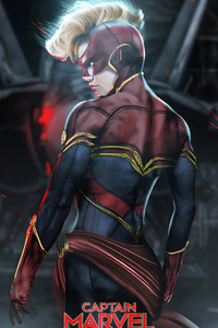 1440x2960 Captain Marvel Artwork Brie