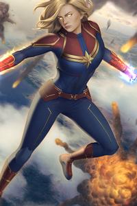 1080x2280 Captain Marvel Avengers Illustration 5k