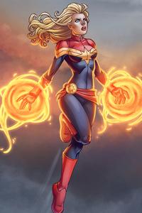 Captain Marvel Cartoon Art