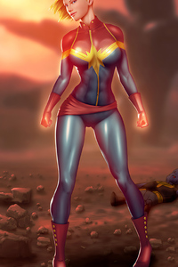 640x1136 Captain Marvel Comic Art 4k