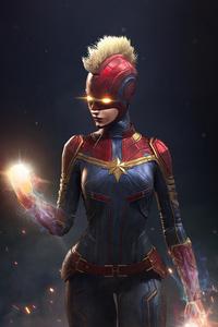 1440x2960 Captain Marvel Comic Art