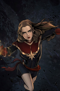 Captain Marvel Comic Artwork 4k