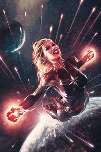 360x640 Captain Marvel Comics Art 4k