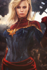 640x1136 Captain Marvel Fantasy Woman Warrior 4k