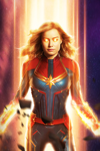 640x1136 Captain Marvel Fire Artwork