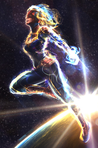 640x1136 Captain Marvel Fly Away
