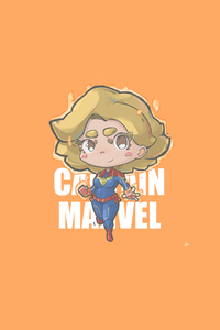 360x640 Captain Marvel Minimal Chibbi 4k