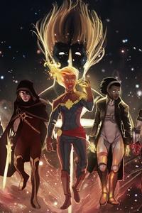 Captain Marvel Team Artwork 4k