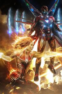 Captain Marvel Thanos Iron Man Artwork