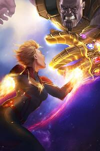 Captain Marvel Vs Thanos 5k Artwork