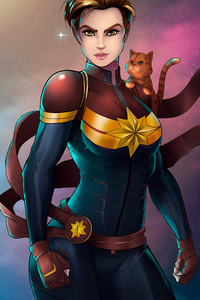 Captain Marvel With Cat 4k