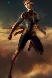 1242x2688 Captain Marvel Women 4k