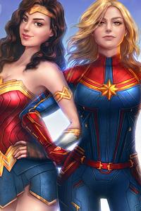 1080x2280 Captain Marvel Wonder Woman